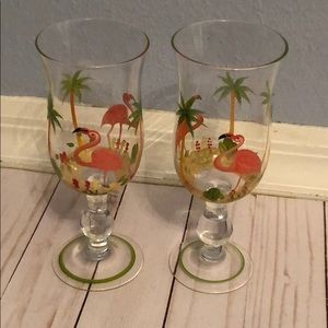Other - Painted Flamingo Wine Glasses